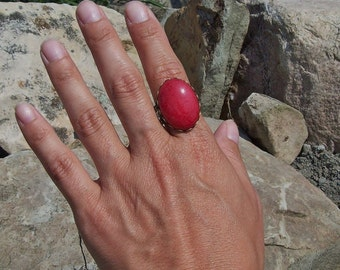 Gypsy Large Stone Ring, Red Mountain Jade Filigree Lace Ring - Action, Confidence, Courage, Vitality - Gypsy Ring, Large stone ring
