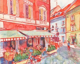 Coffee in Bratislava European Street Scene - Signed Fine Art Giclee Print
