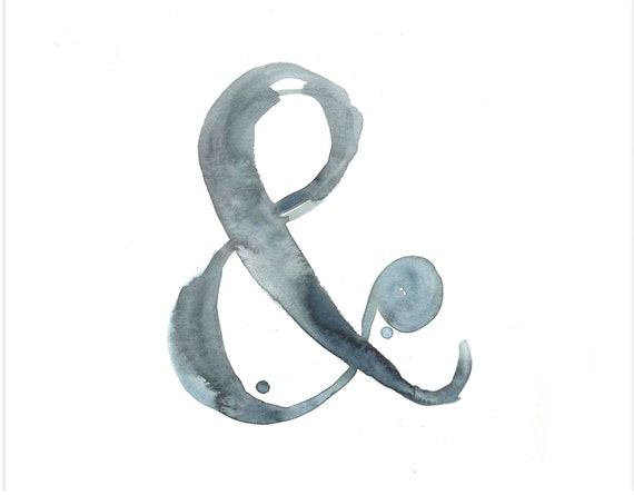 "Ampersand Print - Watercolor & - Archival Print from my Original Illustration - 8""x10"", 5""x7"", 9""x12"" or 11""x14"""