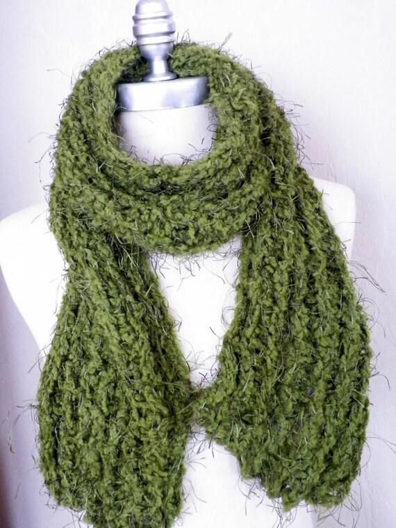 Moss Green Scarf, Lightweight Super Soft Ribbed Knit, Beautiful Eyelash Yarn
