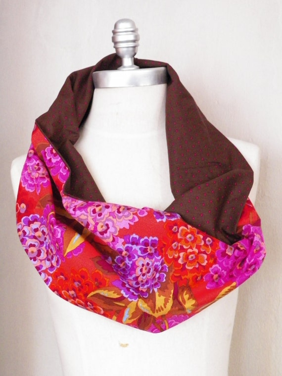 ON SALE Loop Scarf Floral Print Polka Dots Cotton Fabric Infinity Scarf with Red and Purple Hydrangea Flowers and Brown and Pink Polka Dots