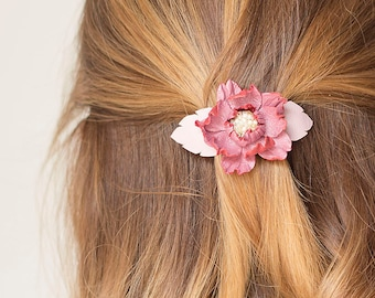 Pink leather flower small french barrette hair clip Rose quartz
