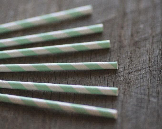 Paper Straws- Mint Green & White Stripes - Set of 12