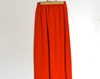Vintage Long Red Skirt wth Pom Pom Accents // 1970s