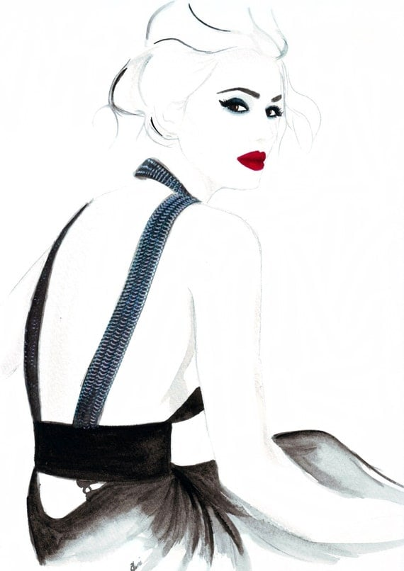 Watercolour fashion illustration Titled Dramatic in Saint Laurent