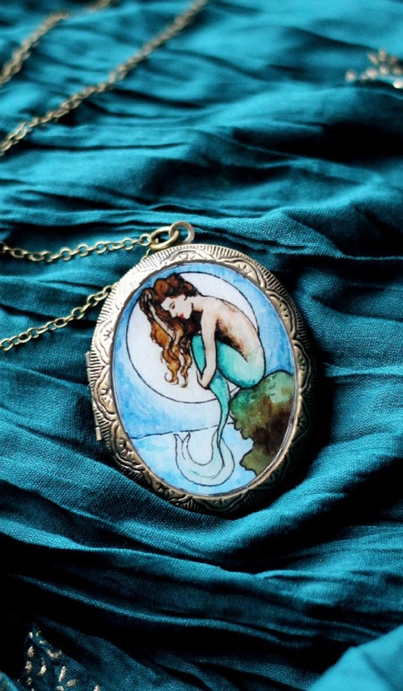 mermaid locket necklace, Mermaid by Moonlight, wearable art jewelry, nouveau painting, LIMITED EDITION