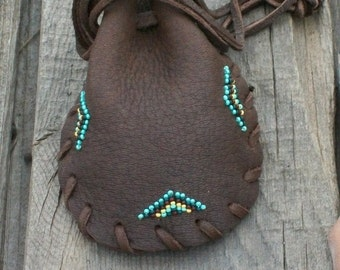 Leather pouch, Crystal bag, Drawstring leather pouch, Beaded medicine bag, Amulet bag, Talisman bag, Fetish bag, Native style  medicine bag