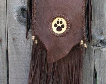 Fringed leather handbag with wolf paw totem , Crossbody handbag ,Leather handbag