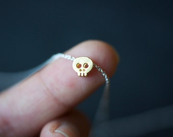 READY TO SHIP Gold Skull necklace on delicate 16.5 inch silver chain, tiny gold skull necklace, dainty skull necklace