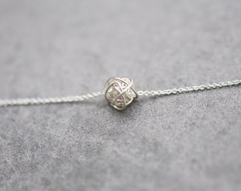 PETITE ANTI-TARNISH love Knot on Chain necklace, argentium sterling silver love knot, sterling silver knot necklace, layering necklace