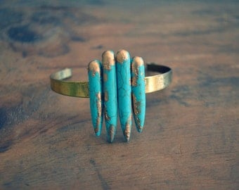 Turquoise Howlite Cuff, Stone Bracelet, Brass Jewelry, Arrow Accessories