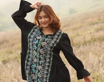 Black Cotton Hemp ruffle dress blouse for women Plus size XL XXL maternity