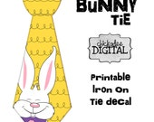 Instant Download 1 PRINTABLE Heat Transfer Decal Yellow Easter Bunny Tie Decal , White Easter Bunny Tie, Easter Outfit
