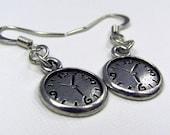 Silver Clock Earrings - Steampunk Earrings, Alice in Wonderland Earrings, White Rabbit, Time Travel, Steam Punk, Charm, Small, Gift, Friend