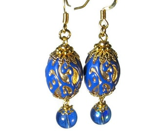 Cobalt Blue Bead Dangle Earrings, Royal Blue Earrings, Vintage Inspired