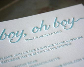 Letterpress Boy, Oh Boy Baby Shower Invitations