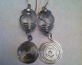 Wire Wrapped and Glass Bead Earrings, Wire Earrings - EWR011