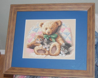 Completed and Framed - Teddy Bear and Kittens