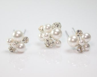 Swarovski Pearl and Rhinestone Bridal Hair Pins-Wedding Hair Pins-Swarovski Hair Pins-Style No.HP116