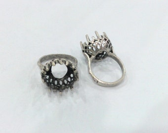 1 Pc Silver Plated Brass Ring Base Blank (12mm Blank) G117