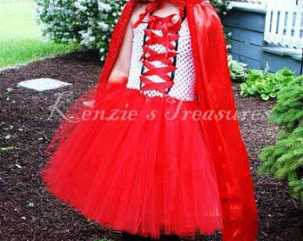 Little Red Riding Hood Tutu Dress and Hooded Cape - Size 2T to Girl's Size 6