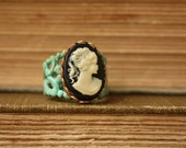 Anthopologie Style Vintage Cameo Filigree Ring, You Choose Color and Patina