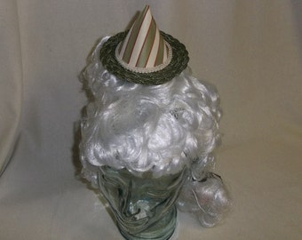 Witch Hat Fascinator- Green and Ivory