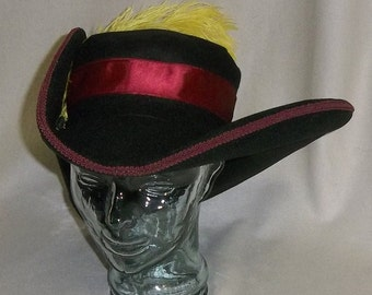Puss in Boots Hat- Classic Black Cavalier Hat with Red Trim and Yellow Feathers