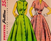 Simplicity 3851 Vintage Dress Sewing Pattern Bust 36 Inches Size 18 Dated 1952 UNCUT