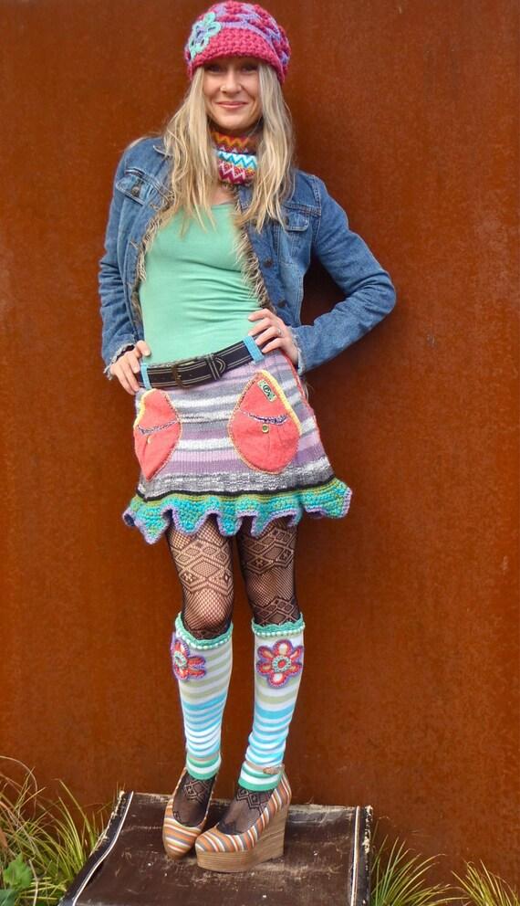 Reserved // Hippie MINI SKIRT sweater skirt Pockets Fairy pixie mini skirt Funky skirt crochet eco friendly unique