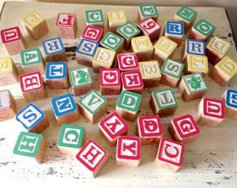 Vintage Children's Toy Blocks Letters Alphabet Primary Colors Big Lot of 49
