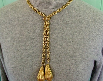 DOUBLE teardrop PENDANT slide NECKLACE textured big chain vintage 1960s 1970s goldtone
