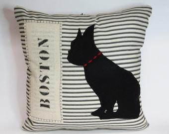 Boston Terrier Pillow, Decorative Boston Terrier Felt Silhouette Pillow, Decorative Boston Terrier Dog Silhouette Pillow, Home Decor, Boston