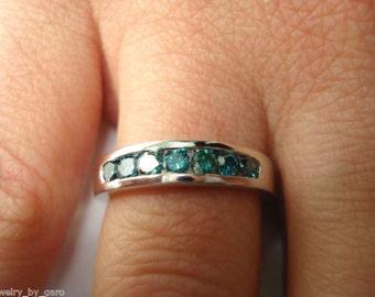 Fancy Blue Diamond Wedding Ring, Wedding Band, 7 Stone 0.38 Carat 14K White Gold Canal Set Handmade