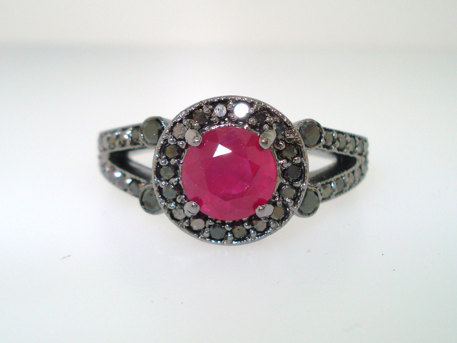 Ruby & Black Diamond Engagement Ring 14k Black Gold Vintage