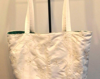 Bridal tote bag eggshell regal duchess satin brides bag