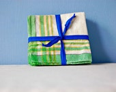 Picnic Linen Napkins 1950s Green Cloth Napkins Vintage Country Kitchen Plaid Stripe Fabric Dinner Set of 6