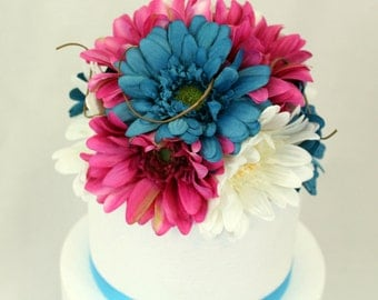 MADE TO ORDER Gerbera Daisy Silk Flower Wedding Cake Topper - 6 inch diameter