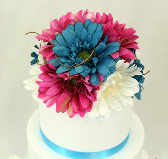 Made to order gerbera daisy silk flower wedding cake topper like this item junglespirit Gallery
