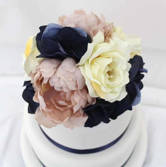 Silk Flower Wedding Cake Toppers: Wedding Cake Topper Pink Peony Navy Hydrangea Ivory Rose