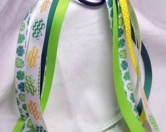 St. Patricks Day Shamrock ponytail ribbon streamers cheer ribbons