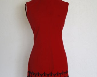 SALE Vintage 60s Mod Red Drop Dress