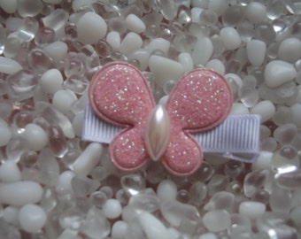 Pink Glitter Puffy Butterfly Hair Clip - No Slip Grip - Baby - Toddler - Girl - Teen - Adult Hair Clip