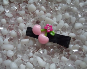 Light Pink Cherries Hair Clip - No Slip Grip - Baby - Toddler - Girl - Teen - Adult Hair Clip