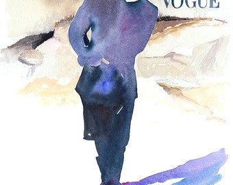 Print of Watercolour Fashion Illustration. Titled - L Uomo Cover