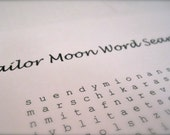 Sailor Moon Word Search and Find Digital PDF English