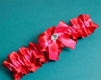 OOAK Wedding Garter, Boudoir Garter, Bridal Garter, Prom Garter - Hot Pink and Red Polka Dot Garter Single - SM/MED