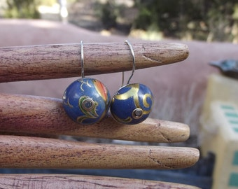 Riveted Tin Hand Made Bead Earrings