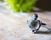 Watermelon Tourmaline Slice, Faceted Silver, Sterling Silver, Cocktail Ring... Confection...