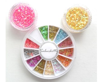 Nail Art Decora Rainbow Gamer Kit pink purple green flowers harajuku video stars techie AB finish decor wheel (sole shop owner est 2010 USA)
